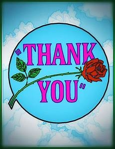 Thank you with red rose drawing