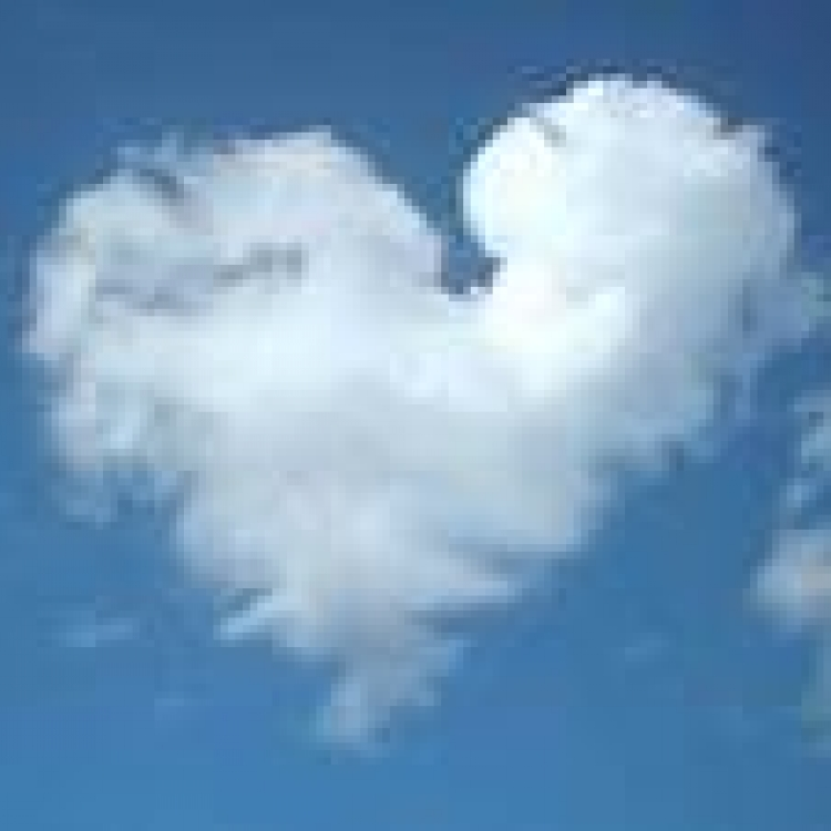 Cloud shaped like a love heart