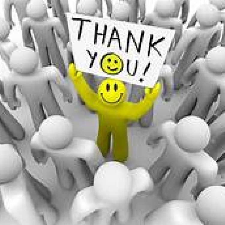 Cartoon holding up 'thank you' sign